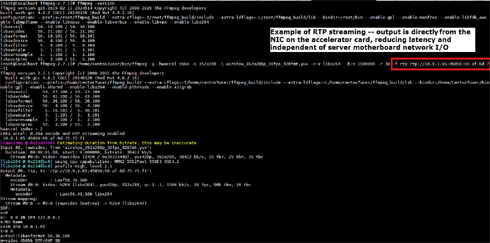 FFmpeg Accelerator / HPC card for servers.  FFmpeg streaming command line interface