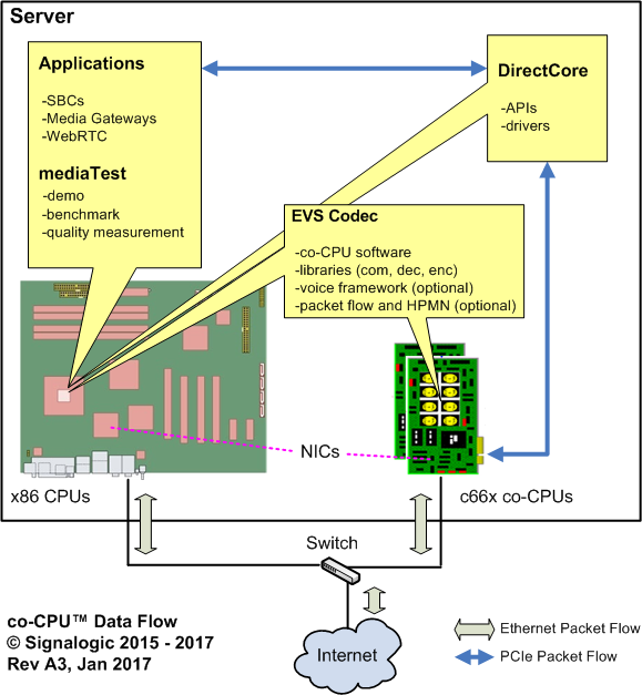 coCPU™ packet data flow and network I/O options