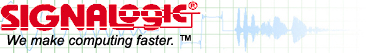 Signalogic logo, first registered in 1991.  Signalogic started in DSP (digital signal processing), an early area of processing where speed was crucial,  and now offers products and services to make computing faster for a wide variety of applications.